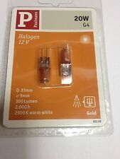 2 Paulmann Lampes halogènes 12V G4 20W Halogène Or 831.08 300 Lumen Lampe