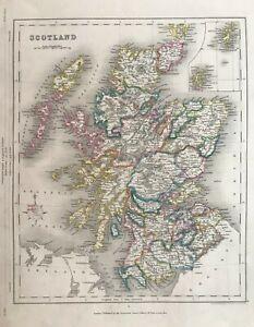 1839 Antique Map; Scotland by Gilbert & Archer