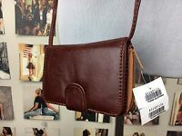 New! Brandy Melville Brown Faux Leather Wallet Clutch Purse Detachable Strap NWT