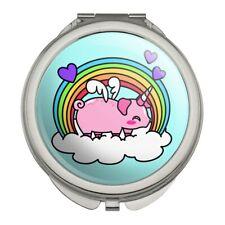 Cute Unicorn Pig with Rainbow Compact Travel Purse Handbag Makeup Mirror