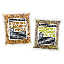 Gorilla Food Co. Raw Whole Almonds/Pistachio Nuts Combo - 2 x 1lb (Save $$!)