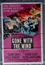 Gone With the Wind 1sh movie poster CLARK GABLE de Havilland VIVIEN LEIGH R-1954