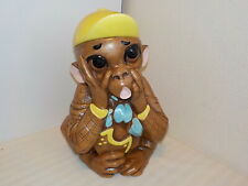 VINTAGE DEFOREST OF CALIF. U.S.A. MONKEY WITH YELLOW HAT COOKIE JAR