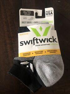 Swiftwick Maxus Zero Ankle Cycling Sock SZ XL Black Gray NWT