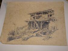 ent. Jules COIGNET (1798-1860) GRAND DESSIN CRAYON MOULIN PAYSAGE BARBIZON 1837