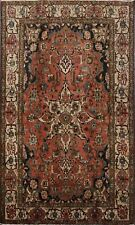 Antique Vegetable Dye Bakhtiari Geometric Area Rug Hand-Knotted Wool Carpet 5x7