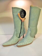 EL CANELO LADIES LEATHER OSTRICH DRESS COWBOY BOOTS PISTASCHIO GREEN SIZE10