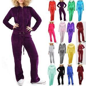 Ladies Womens Jogging Loungewear Velvet Velour Bottom Hooded Hoodies Tracksuit