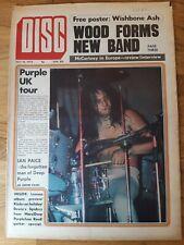 Disc Music Newspaper July 15th 1972 Deep Purple and Wishbone Ash poster