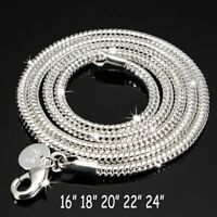 925 Sterling Solid Silver Snake Chain Necklace Lobster Clasp Women Men Jewelry