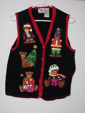 UGLY CHRISTMAS XMAS SWEATER Black Red Cardigan Vest NUTCRACKER BEARS TREE GIFT L