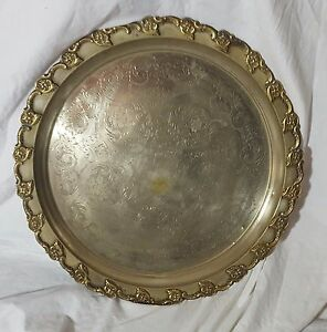 Beautiful Antique Large and Heavy Brass Tray. Diameter 57.5 cm.