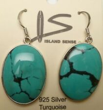 Véritable Turquoise Forme Ovale Boucles D'Oreilles / W/Argent 925 Crochet #