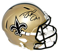 DREW BREES SIGNED SPEED REPLICA FULL SIZE HELMET BECKETT WITNESSED COA