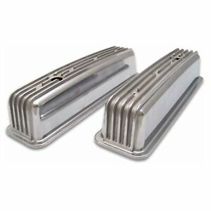 SBC Vortec & TBI Retro Finned Chevy 350 Tall Aluminum Valve Covers Center Bolt
