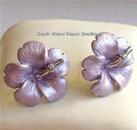Silver Hawaiian Hibiscus Purple Flower Earrings Post Beach Wedding Bridal Enamel