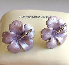 Silver Hibiscus Purple Enamel Earrings Post Beach Wedding Bridal Hawaiian Flower