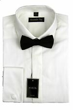 Alexander Hay Mens Formal White Evening Dress Shirt Classic Collar Bow Tie DR004