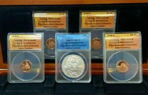 2009 LINCOLN BICENTENNIAL 5 COIN SET ANACS PR70 DCAM ~ Proof Cents ~ UNC Dollar