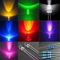 70×Red Green Blue Yellow Purple Pink White 3mm Mixed LED Light 90 Free Resistor