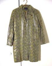 Vtg Gray Snake Print Leather Adler Button Trench Jacket Sz XL
