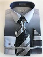 Men's Daniel Ellissa Black/Silver Two Tone Shaded Dress Shirt Reg Cuffs DS3795P2