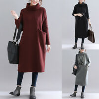 Women's High Neck Casual Long Shirt Dress Sweatshirt Midi Dress Oversize Dress