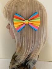 Rainbow pride print hair bow clip girls retro rockabilly pin up vintage lgbtq