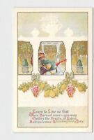 PPC POSTCARD THANKSGIVING GREETINGS TURKEY GRAPES PEARS COLUMNS EMBOSSED