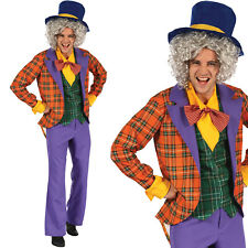 Mens Mad Hatter Fancy Dress Costume Alice in Wonderland Adult Halloween outfit