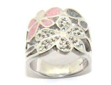 Mujer Plata de Ley Flor Anillo Diseño, Set con piedras transparentes N