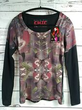 NWT $200 Custo Barcelona Chic High Illustration Couture Sparkly Art Top 1 S/XS