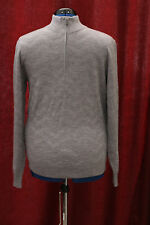 NWT Mens Large Hart Schaffner Marx Grey 1/4 Zip Wool Sweater $150 New