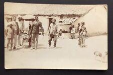 Postcard Indian Village Scene India Building Dog People Real Photo K Ltd ref1869