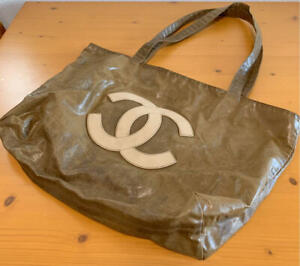 CHANEL Leather Nylon Tote Bag