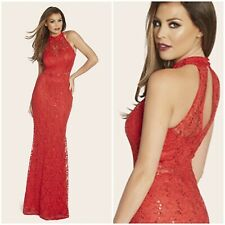JESSICA WRIGHT SIZE UK 12 RED SEQUIN & LACE MAXI DRESS SISTAGLAM  / LIPSY / NEXT