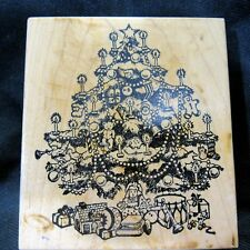 PSX Victorian Christmas Tree Mounted Rubber Stamp 1988 Clean