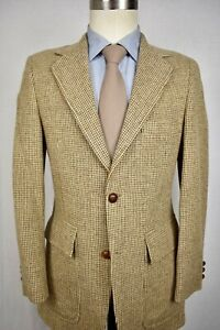 1970's The 222 Shop Light Brown Check 100% Wool Two Button Sport Coat Size: 36R