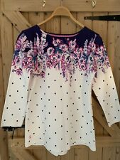 BNWOT Joules Long Sleeved Top White Pink Blue Flowery Spotty Size 14