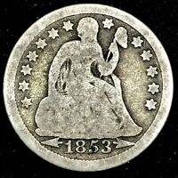 1853 SILVER USA SEATED LIBERTY WITH ARRORS (10 Cent) DIME COIN.