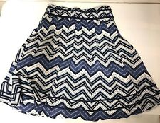 H&M A Line Skirt Chevron Blue White Women's Size 8