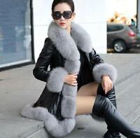T039 Designer women faux fox fur leather coat warm jacket parka trench outwear