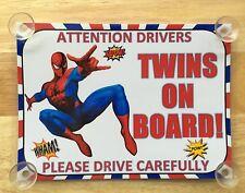 I SUPEREROI SPIDERMAN Gemelli A Bordo Auto Firmare laminato