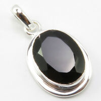 """925 Sterling Silver Ladies Handcrafted Jewelry Natural Black Onyx Pendant 1.3"""""""