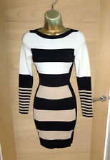KAREN MILLEN Jersey De Punto Negro Rayas en crema Wiggle Dress SZ 2 UK 10 38 Stretch