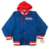 Vintage 90s NWT Atlanta Braves Blue Red Ax Logo Size 6 Hooded Bomber Jacket