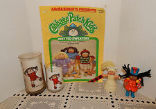 LOT XAVIER ROBERTS CABBAGE PATCH KIDS~KNIT SWEATER BOOK~2 GLASSES~2 FIGURINES