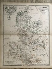 1869 Denmark & North Germany Original Hand Coloured Antique Map by Johnston