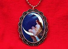 MOON GODDESS FAIRY PIN UP COLOR VINTAGE PENDANT NECKLACE