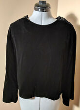 Womens Velvet Blouse Long Sleeves JH Collectibles Ladies Size 14 Black Made USA